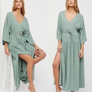 Free People Ellie Maxi Dress Boho Tiered Green EUC